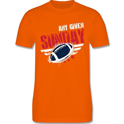 Shirtracer American Football - any Given Sunday Football New England - Herren T-Shirt Rundhals Orange