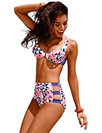 WanYang Mujer Conjuntos de Talle Alto Bikini Bañador Beachwear Conjuntos de Impresión Swimsuit