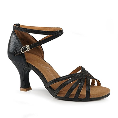 Wxmddn Chaussures De Danse Latine, Chaussures De Danse Pour Adultes Noir 7 Cm Doux Bas Danse Danse Chaussures Débutant Exercice Intérieur Dames Chaussures Noir 7 Cm D'intérieur