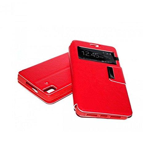 Funda para bq Aquaris E6 de tipo libro con solapa imantada, ventana y soporte, color rojo