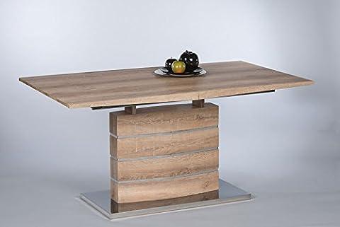 Säulentisch, Esstisch, Küchentisch, Esszimmertisch, Tisch, rechteckig, ausziehbar, Synchronauszug, Zierstreifen, Canyon Monument Oak, Eiche