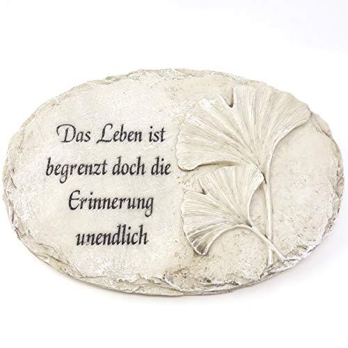 Trauer-Shop Gedenkstein Platte mit Fuß und Inschrift Das Leben ist begrenzt doch die Erinnerung unendlich. Breite 23 cm. 1 Stück