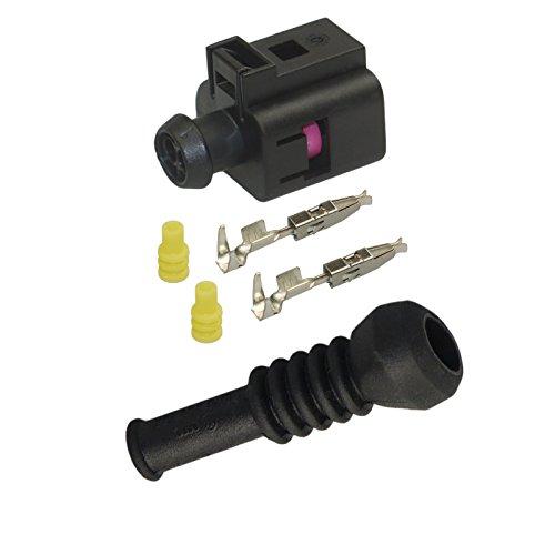 Preisvergleich Produktbild Reparatursatz Stecker 2-polig Buchse OEM VW 1J0 973 702 1J0973702 mit Gummitülle 6N0 906 102