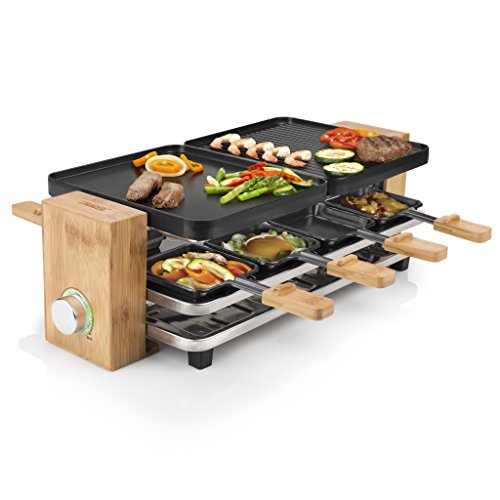Princess 01.162910.01.001 Raclette Pure Finiture In Bambu, 8 Padelline