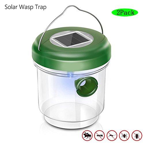 best service a87f6 46934 GUORZOM Reutilizable Solar Wasp Trap Catcher Verde Outdoor LED UV Light  Bees Avispas Hornets Moscas Trampa