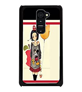 PrintDhaba Girl with Balloon D-1301 Back Case Cover for LG G2 (Multi-Coloured)