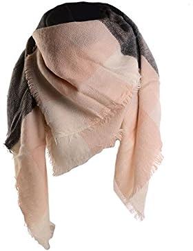 UPhitnis Plaid Mujer Bufanda Invierno, Mujeres Big Square Long Scarves Caliente Pashmina Tartan Checked Shawl