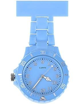 JSDDE Uhren,Schwesternuhr Trend Design Silikon Beschichtung Krankenschwesteruhr Taschenuhr Analog Quarzuhr(Himmelblau)