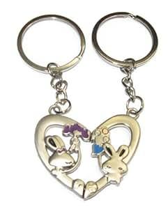 Porte Clefs Duo Amoureux Coeur Et Petit Lapin