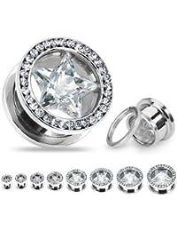Kultpiercing Piercing tunnel avec étoile en cristal Blanc Différentes tailles disponibles