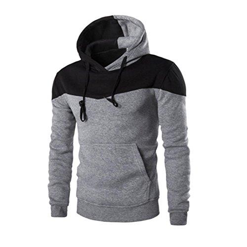 ❤️Sweatshirt Homme, Amlaiworld Hiver Sweat à Capuche Hiver Slim Sweat Capuche Chaud Veste Manteau Outwear Pull (L, Gris)