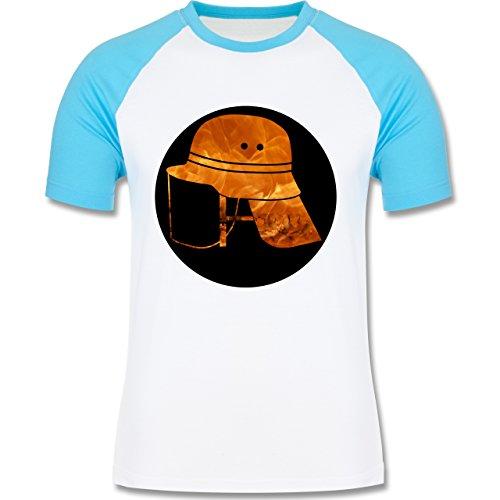 Feuerwehr - Feuerwehr Helm Flammen - zweifarbiges Baseballshirt für Männer Weiß/Türkis