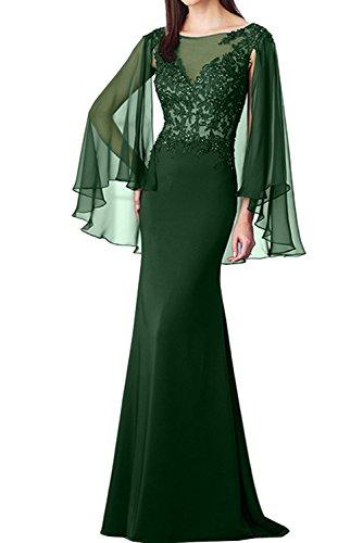 Ivydressing Romantisch Neu Navy Chiffon 2017 Applikation Meerjungfrau Abendkleider Partykleider Dunkelgruen