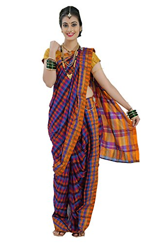 Bhartiya Vastra Bhandar Women's Ready to Wear Nauvari Saree(DNoA12_SimpleCottonCheqs_Multi-Coloured_FreeSize)