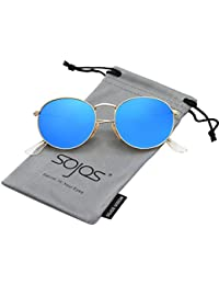 SOJOS Rotonda Retro Vintage Specchio Lenti Polarizzate Protezione UV Occhiali da Sole SJ1014