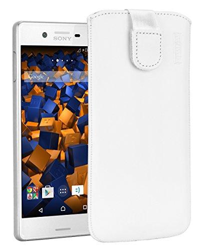 mumbi ECHT Ledertasche für Sony Xperia X Tasche Leder Etui weiss (Lasche mit Rückzugfunktion Ausziehhilfe)
