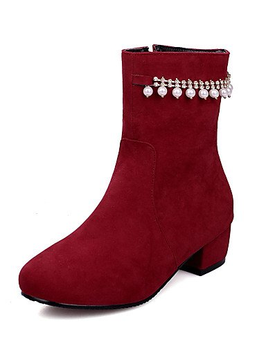 ShangYi Mode Frauen Schuhe Damen Stiefel Frühjahr / Herbst / Winter Fashion Stiefel Kunstleder/ and Ferse Crystal / Imitation PearlBlack / Rot Schwarz