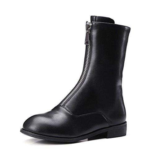 Qpyc Bottes Femmes Bottes À Talons Bottes Femmes Bottes Femmes Bottes Femmes Bottes Chaussures Slip Tirer Sur Chaussures D'hiver Grande Taille Noir