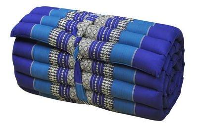 Kapok Thaikissen, Yogakissen, Massagekissen, Kopfkissen, Tantrakissen, Sitzkissen - Blau (Rollmatte...