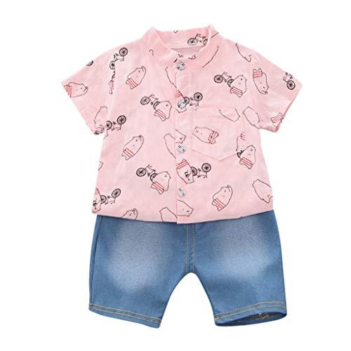 Baby Kinder Junge Kurzärmliges Hemd Cartoon Kronenaufdruck T-Shirt Tops + Jeansshorts Hosen Elastische Sommerkleidung Outfit Set 0-3 Jahre ()