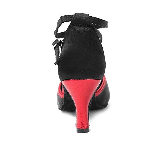 YKXLM Donna & Bambine Scarpe da Ballo Latino/Standard Ballroom Sala da Ballo Scarpe,Modello-ITWXCL Nero+Rosso