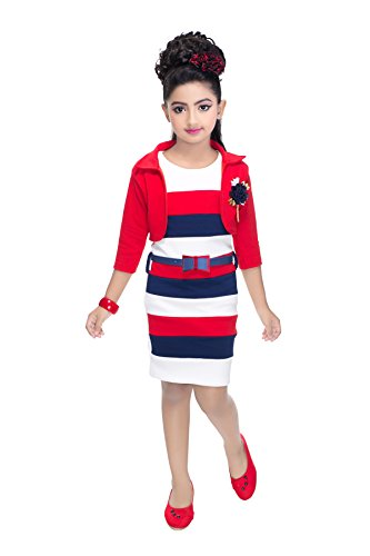 GOLDEN GIRL Girl's Frock with Short Jacket (ggc57_Red_7-8 Years)