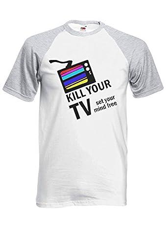 Kill Your TV Set Your Mind Free Novelty Sports Grey/White Femme Homme Men Women Unisex Manches Courtes Short Sleeve Baseball T Shirt-XXL