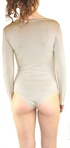 Cilek Body Damen Shirt Bodysuit Ärmellos Stretch Rundhalsausschnitt Träger Top Größe S/M/L/XL Hell Hautfarbe