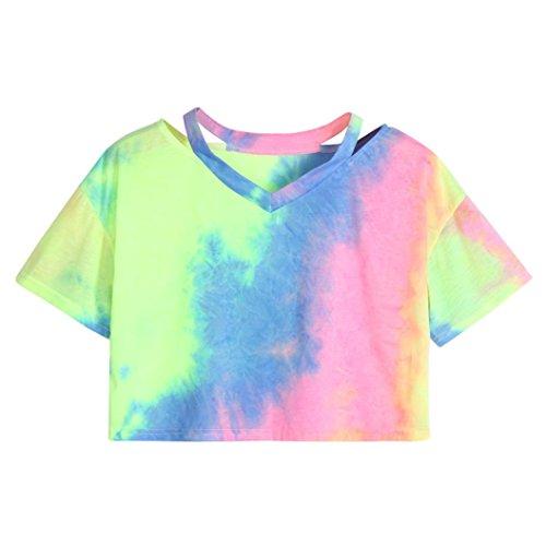 03b380145002f8 SOMESUN Mode Femmes Colorant Manches Courtes Col V Occasionnel LâChe T-Shirt  Tops Blouse Mme