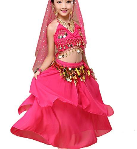 ZYLL Kinder-Bauchtanz-Kostüme Orientalischer Tanz Mädchen Bauchtanz Indien Bauchtanz Kleidung Bauchtanz Kind Kids Indian Set,D,XS