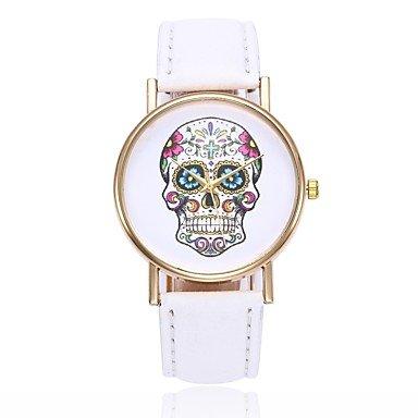 Fashion Watches Relojes Hermosos, Mujer Reloj creativo único Reloj Casual Chino Cuarzo Calavera Reloj Casual PU Banda Casual Calavera Negro Blanco Azul Rojo Naranja Marrón (Color : Negro)