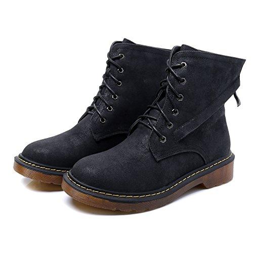 Smilun Damen Kurzschaft Stiefel Schnürstiefel mit Reißverschluss Stiefelette Schwarz