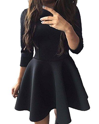 ZANZEA Femme Sexy Slim Tunique Mini Robe Chemise Parti 3/4 Manches Cocktail Elégant Dress Blouse Tops Noir