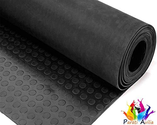 Tappeto in gomma antiscivolo bollato nero pavimento passatoia gomma bollo altezza 120 cm (1,2 x 1 m) spessore 3,3 mm di parati avilia