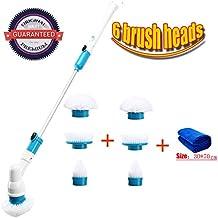6 Cabezas de cepillo ajustables Cepillo de limpieza eléctrico turbo universal espiral inalámbrico con barra de