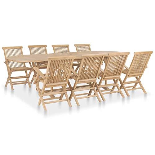 Tidyard Table de Jardin Exterieur 9 pcs | Meuble à Dîner de Jardin | Salon de Jardin Pliable 180-280x100x75 cm Teck Massif
