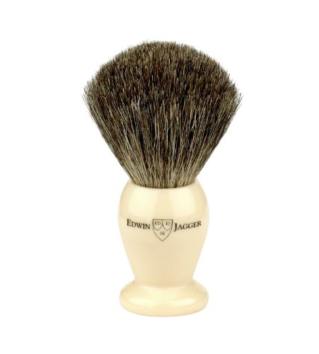 Edwin Jagger Best Shaving Brush with Drip Stand - Small, Imitation Ivory