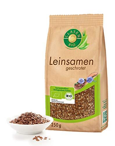 CLASEN BIO Leinsamen / Leinsaat geschrotet - 3x250g, von Natur aus vegan und glutenfrei, biologischer Anbau