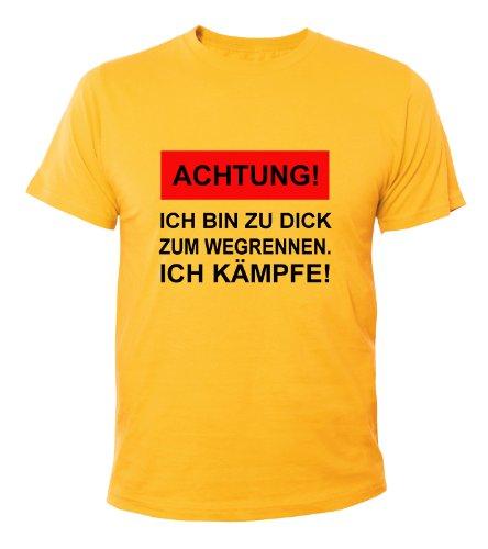 Mister Merchandise T-Shirt Ich bin zu dick zum wegrennen, ich Kämpfe - Uomo Maglietta S-XXL - Molti Colori