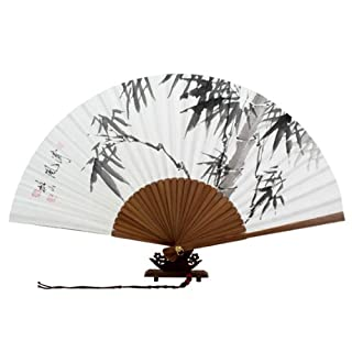 Hand Painted Folding Black Chinese Ink Bamboo Painting Korean Mulberry Rice White Paper Art Handheld Decorative Fan