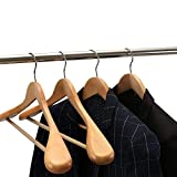 STAR WORK Wooden Suit Hangers with Extra Wide Shoulder and Natural Finish
