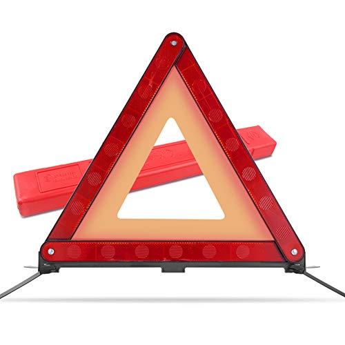 MYSBIKER Warndreieck mit Aufbewahrungsbox, Sicherung von Unfall- und Gefahrenstellen für Unfälle und Pannen, Faltbares Notfalldreieck, reflektierendes Warndreieck (RED, 1 Pack)