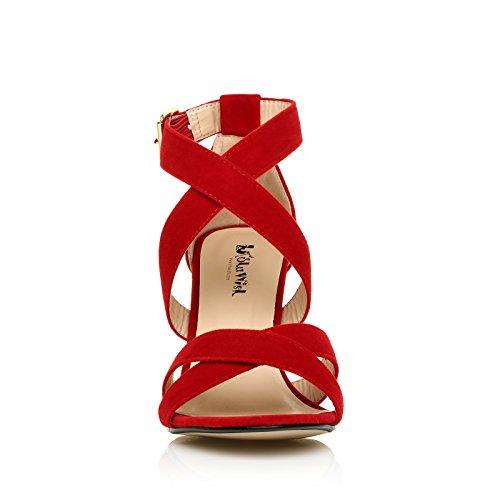 Escarpin sandale haut talon bride pour femmes Daim rouge