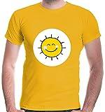buXsbaum® Herren T-Shirt Glücksbärchi Sonne Kostüm Fasching | XL, Gelb