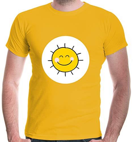 buXsbaum® Herren T-Shirt Glücksbärchi Sonne Kostüm Fasching | S, Gelb