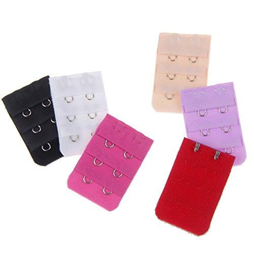 BOOLAVARD ® 12 Stück farbig sortiert Frauen 2-Haken 3 Reihen Abstand Bra Extender Strap BH-Erweiterung von Boolavard ® TM -
