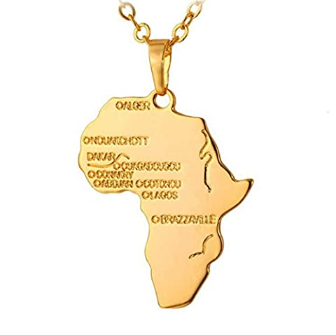 Fengteng Golden Plated Map of Africa Hip Hop Pendant Necklace Jewelry