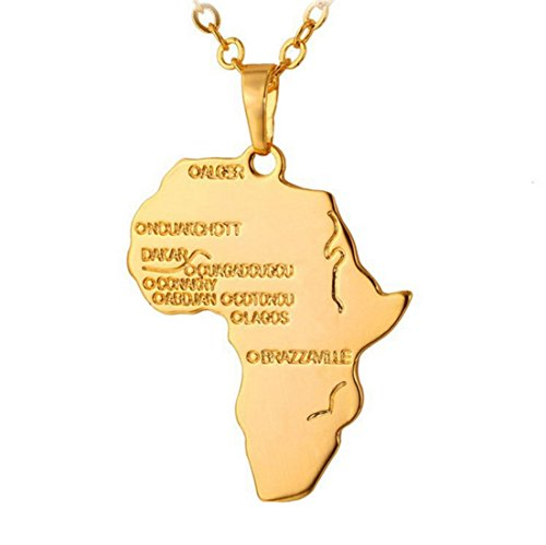 Fengteng Vergoldete Karte von Afrika Hip Hop Halskette Schmuck
