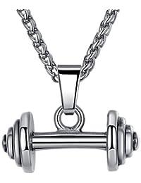 Aoiy - Collar con colgante de hombre de acero inoxidable, barra de pesas, cadena de 61cm, aap070