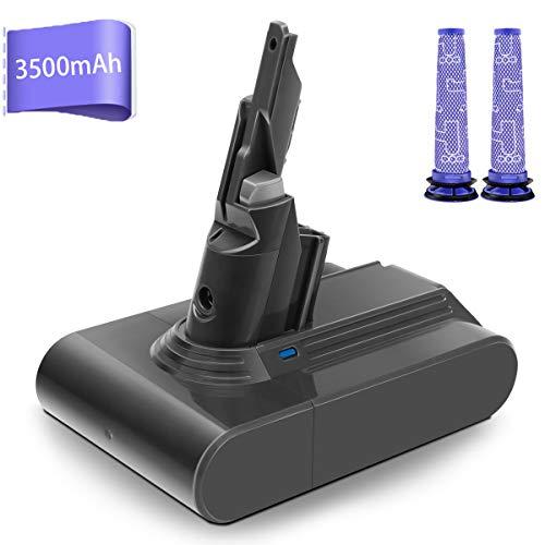 morpilot Batterie de Remplacement pour Dyson V8, 21.6V 3500mAh Li-ion, Compatible avec Dyson V8 Séries V8 Absolute V8 Fluffy V8 Animal SV10 Cord-Free Vacuum, avec 2PCS Pre Filtres Lavables
